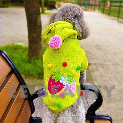Green Strawberry Fleece Warm Pet Dog Clothes Apparel Outfits Jumpsuit